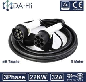 DA Hi EV Ladekabel für Elektrofahrzeuge | 32A 3Phase 22KW 5m | Typ 2 zu Typ 2 IEC 62196-2 | TÜV & CE certifiziert | Wasserdichten Schutzart IP54 | Schutz vor Regen Wind und Staub