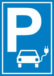 Parkplatz Elektrofahrzeug Schild A4 Rückseite selbstklebend