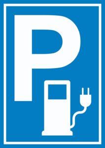 Parkplatz Stromtankstelle Schild Elektrofahrzeug A3