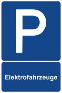 Parkplatzschild Elektrofahrzeuge Parken