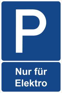 Parkplatzschild Nur für Elektroautos