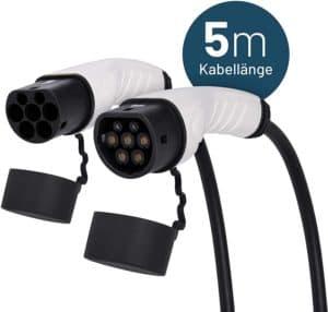 ABSINA Typ 2 Ladekabel Elektroauto - 5 Meter Typ 2 Kabel zum Laden für Hybrid & E Auto an Ladesäulen IEC62196-2 - Elektrofahrzeug Ladekabel 3 phasig mit 11 kW, 16A & IP55