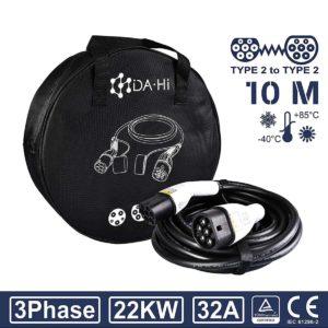 DA Hi EV Ladekabel Typ 2 22KW 10m 32A 3 phasig für Elektroauto und PHEV