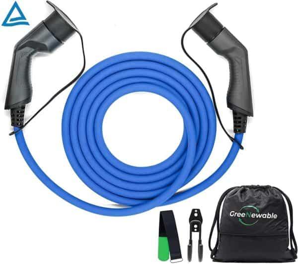 Typ 2 Ladekabel Elektroauto Typ 2 22kW 5m 32a Schnelladekabel   mit Tasche, Klettband & Wandhalterung   TÜV  3 Phasig   ladekabel typ 2 22kW Elektro Auto